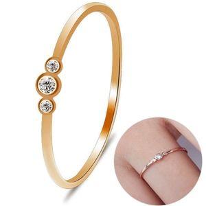Triple Diamond Round-Cut Thin Gold Ring